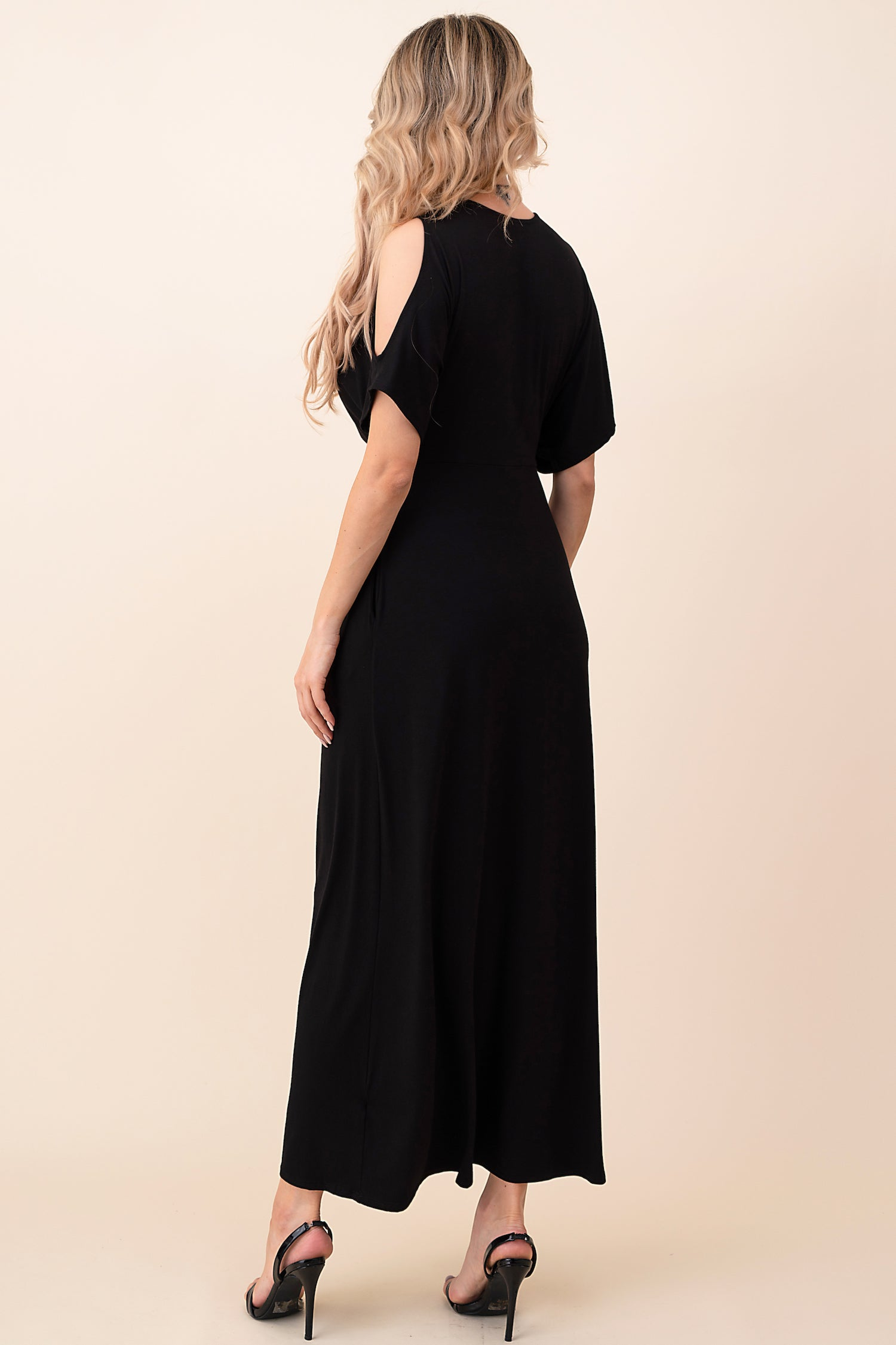 Front Twist Cold Shoulder Maxi Dress - besties STUDIOS