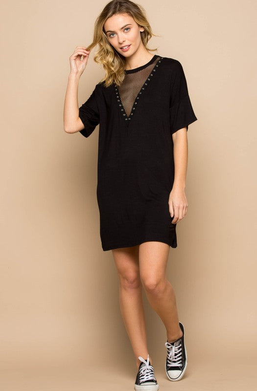 Mesh Insert T-Shirt Dress - besties STUDIOS