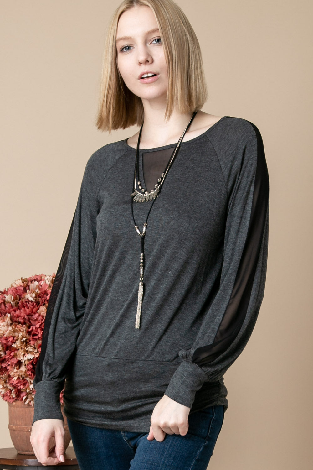 Shirred Band Mesh Insert Blouse - besties STUDIOS