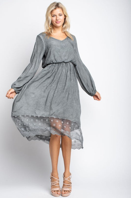 Open Long Sleeve Midi Dress - besties STUDIOS