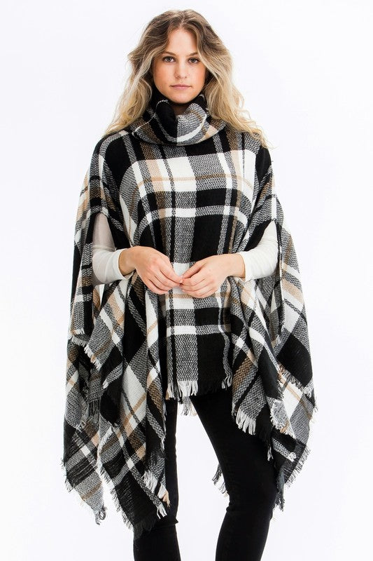 Plaid Pull Over Poncho - besties STUDIOS