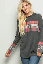 Plaid Accent Knit Hooded Casual Pullover Top - besties STUDIOS