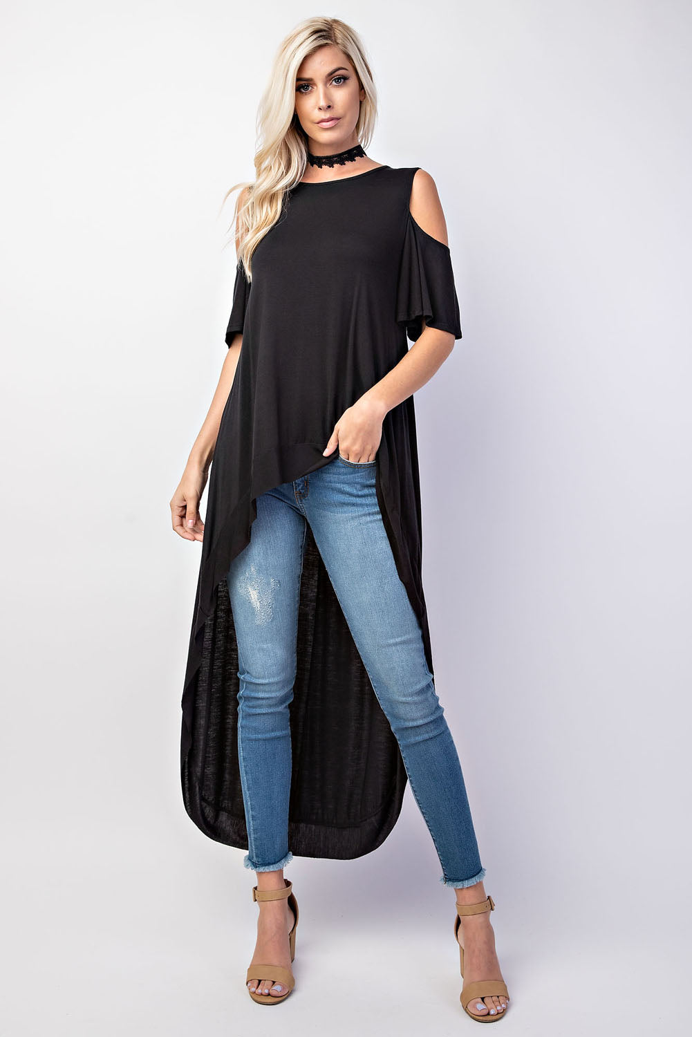 Cold Shoulder Deep Hi-Lo Knit Top - besties STUDIOS