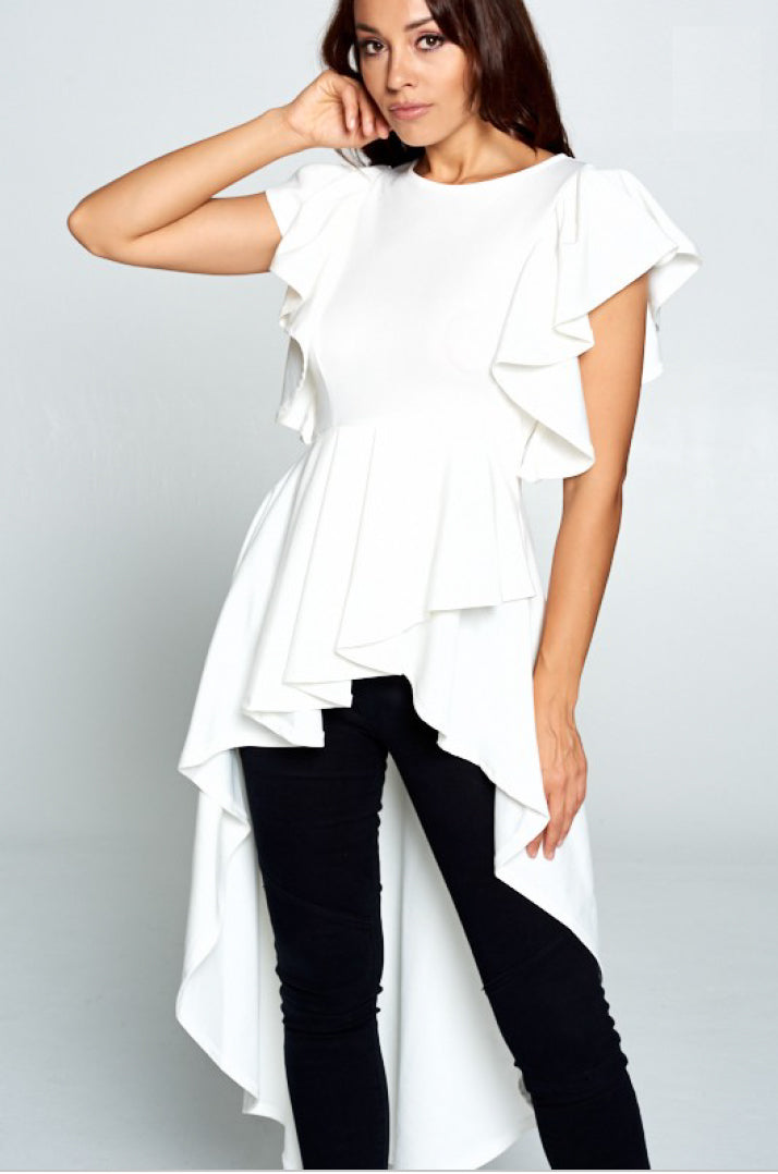Hi Low Ruffle Dress Silhouette Top - besties STUDIOS