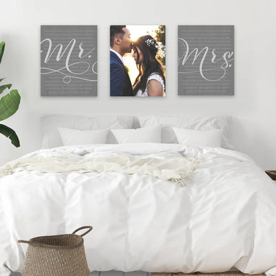 Custom His & Hers Wedding Canvas Vows Wall Art Available At Pretty Perfect Studio