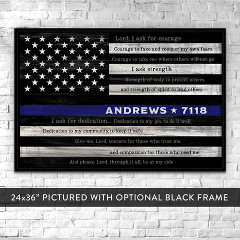 Thin Blue Line Sign | Custom Police Officer Prayer | Police Academy Graduation Gift