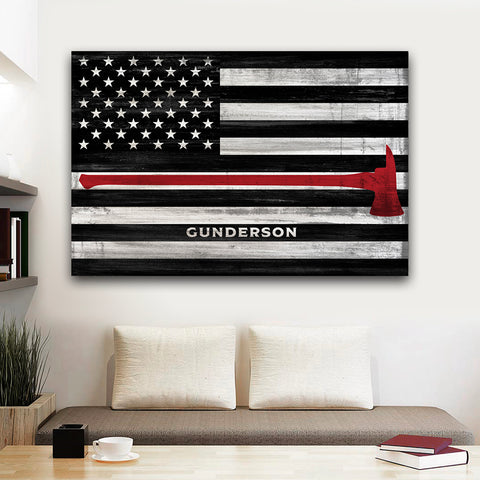 Thin Red Line Flag Sign | Custom Firefighter Gift For Him | Fireman Chief Retirement Decor