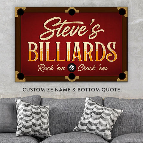 Man Cave Artwork For Billiards Game Room And Bar Pub