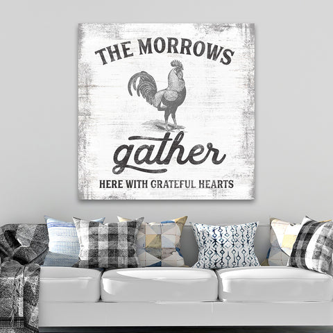 Gather Here Sign | Custom Farmhouse Rooster Decor