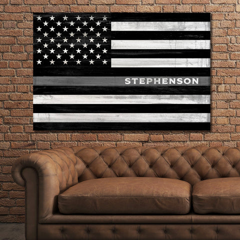 Thin Gray Line Sign | Correction Officer Gift Personalized | Thin Silver Line Flag
