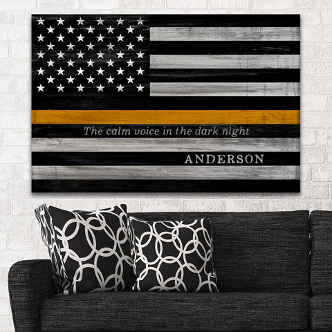 Thin Gold Line Flag | Custom Signs For 911 Dispatchers & Tow Truck Drivers