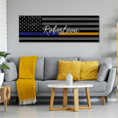 Thin Gold Line Flag | Custom Signs For 911 Dispatcher Gifts