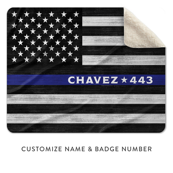 Custom Sherpa Blankets For Thin Blue Line Blue Lives Matter Police Officer Appreciation
