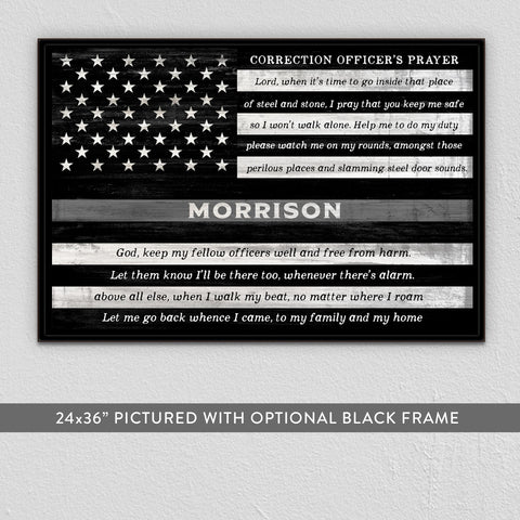 Thin Gray Line Sign | Correction Officer Gift Personalized | Corrections Prayer
