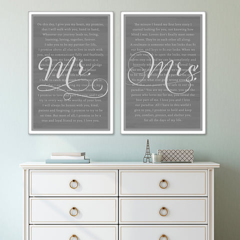 Personalized Mr & Mrs Canvas Vows & Vows Renewals Wall Artwork