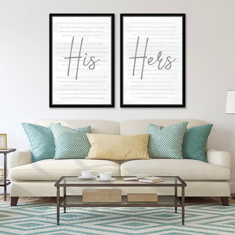 Personalized His & Hers Wedding Vows 2 Panel Art Prints Set