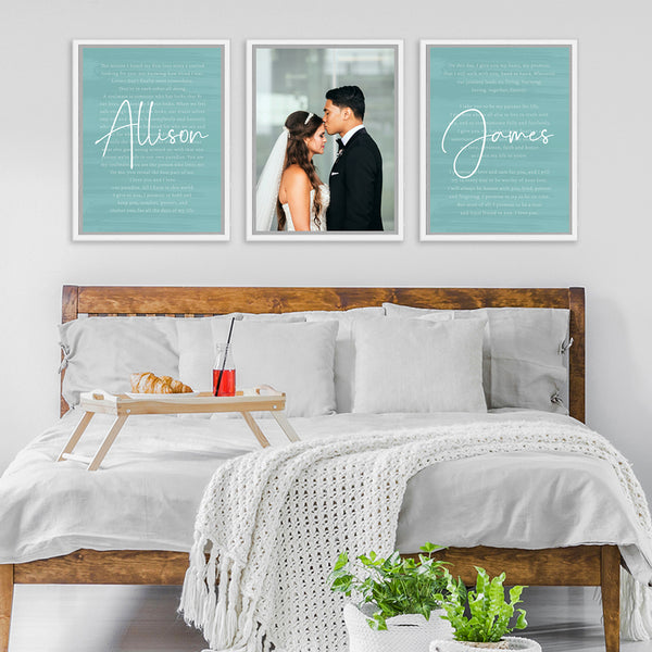 Custom Wedding Canvas Vows Wall Artwork for His & Hers