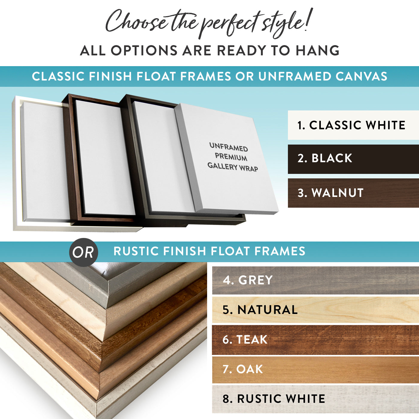 Different unframed and framed canvas wall art options at Pretty Perfect Studio