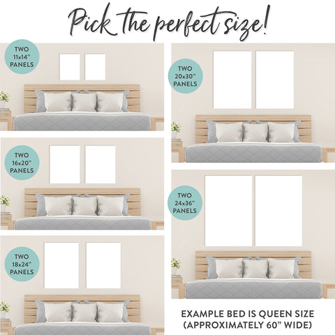 Two Panel Wall Art Sizing & Product Examples