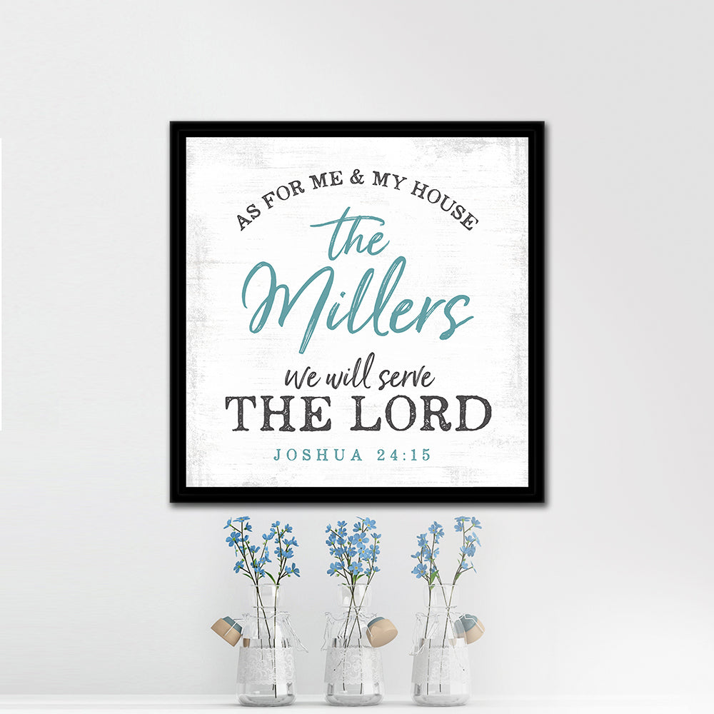 As For Me And My House We Will Serve The Lord Canvas Sign - Pretty Perfect Studio