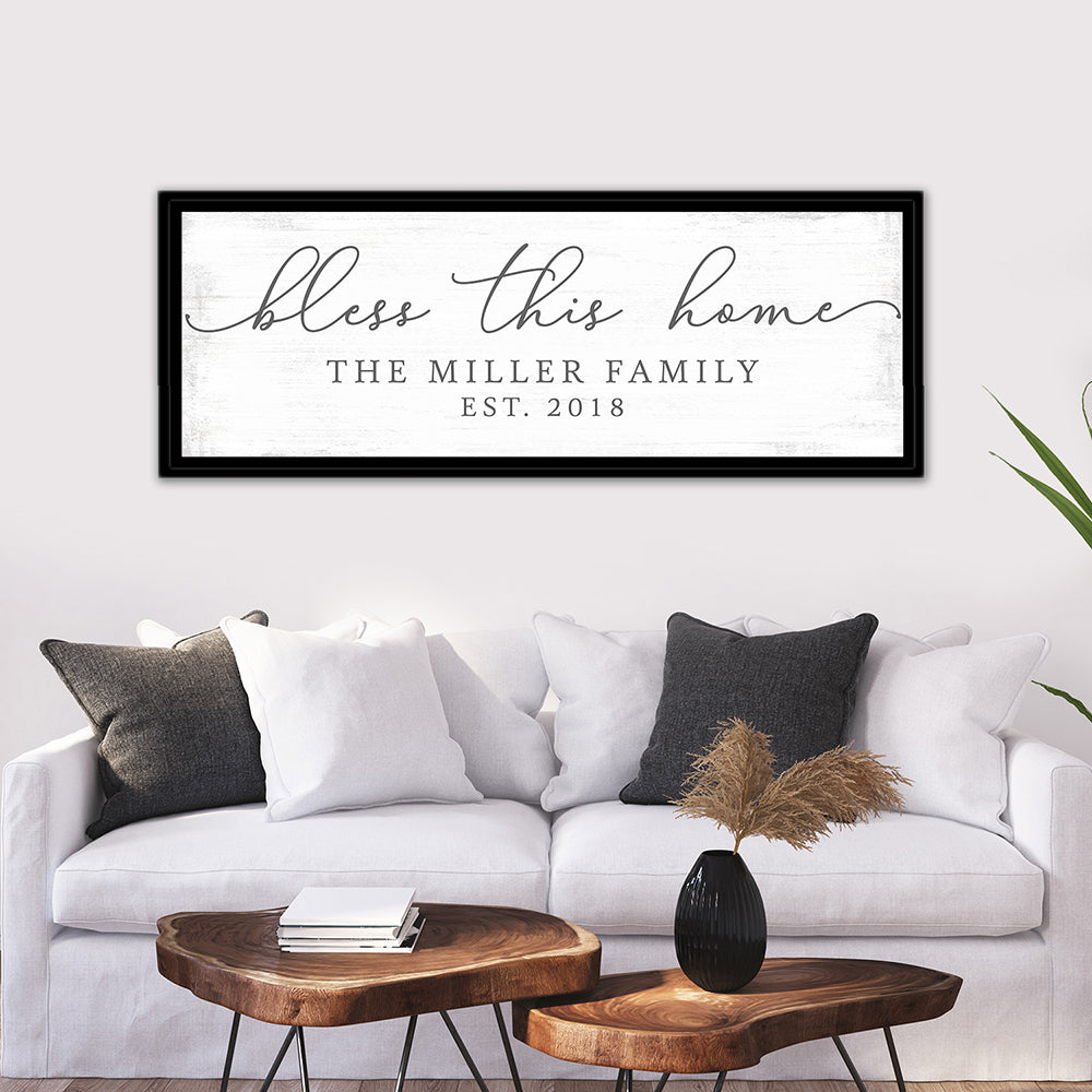 Bless This Home Quote Canvas Wall Art Above Couch - Pretty Perfect Studio