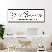 Custom Business Sign With Tagline and Date