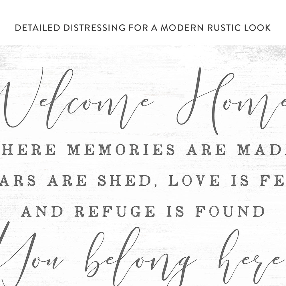 Welcome Home, You Belong Here Sign Entryway Foyer and Living Room Canvas Wall Art - Pretty Perfect Studio