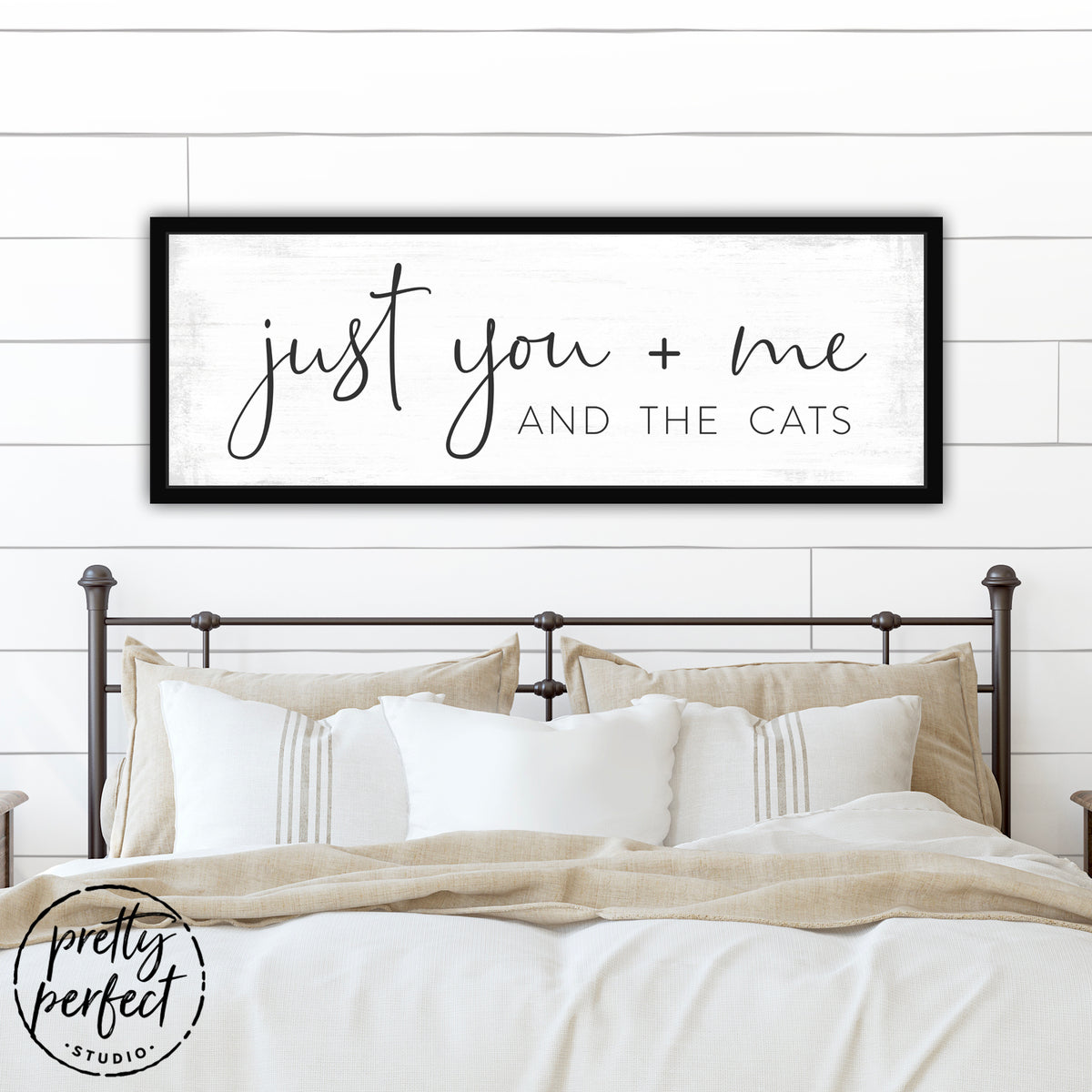Just You Me And The Cats Canvas Sign Above Bed - Pretty Perfect Studio