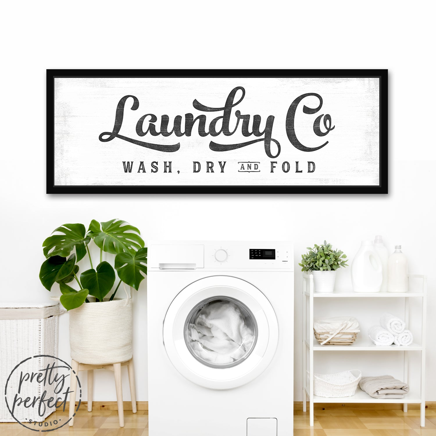 Laundry Co. Sign Wash, Dry, and Fold Sign In Laundry Room