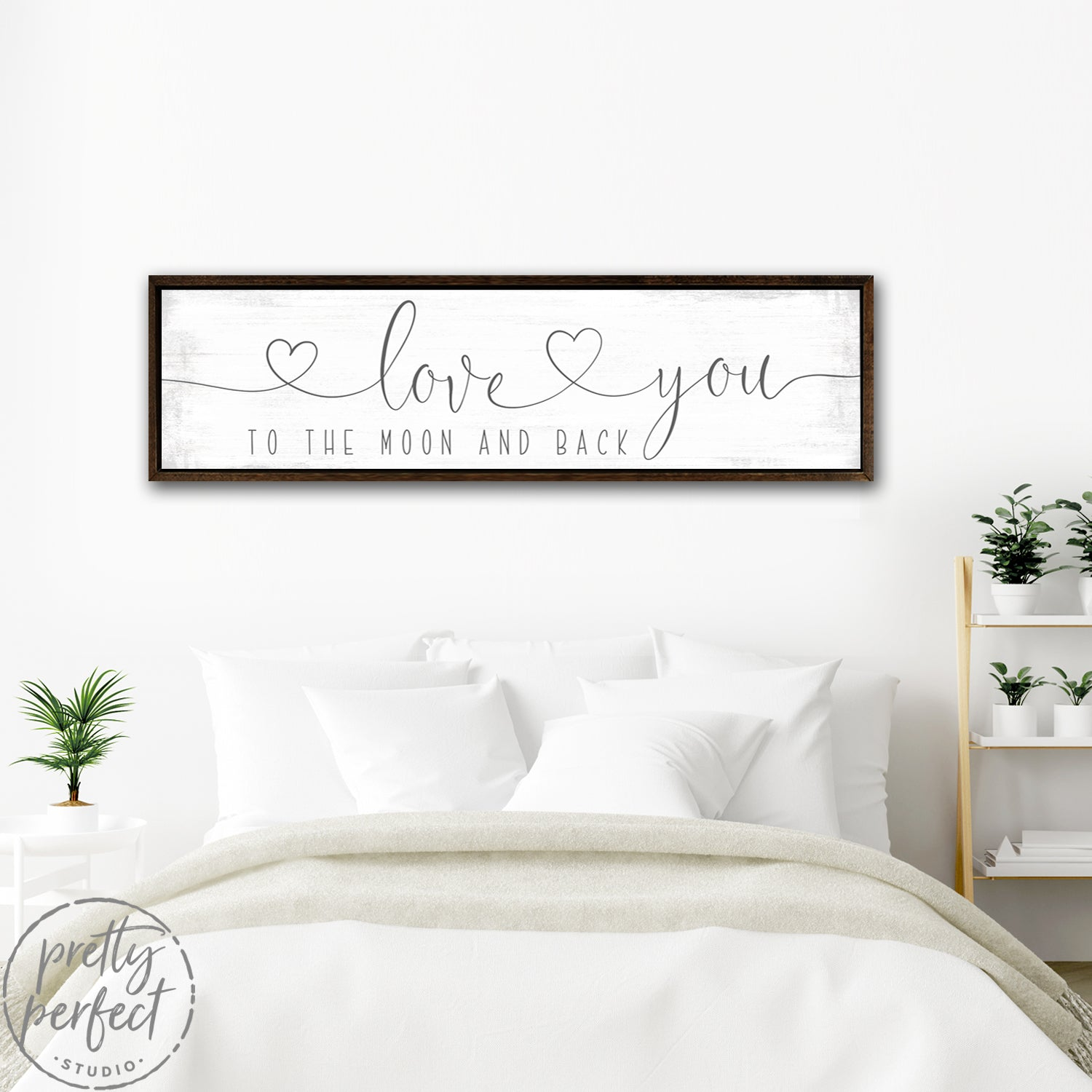 Love You to the Moon and Back Sign With Hearts Above Bed - Pretty Perfect Studio