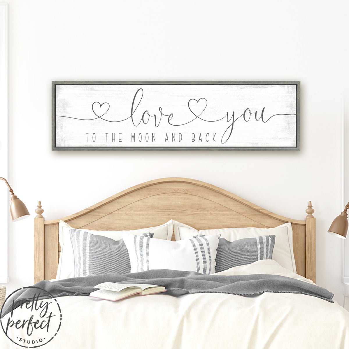 Love You to the Moon and Back Sign With Hearts Over Bed - Pretty Perfect Studio