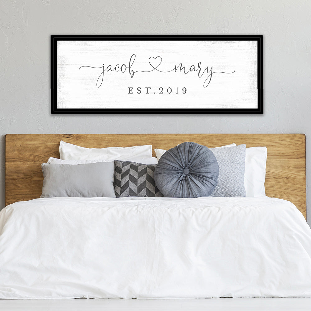 Marriage Sign Personalized With Names Above Bed - Pretty Perfect Studio
