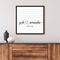 Song Lyrics Sign Personalized With Names and Date