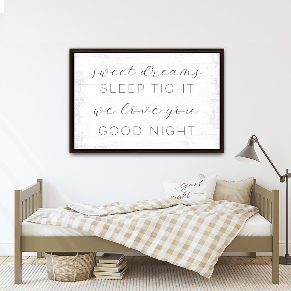 Sweet Dreams Sleep Tight Sign Above Child's Bed - Pretty Perfect Studio