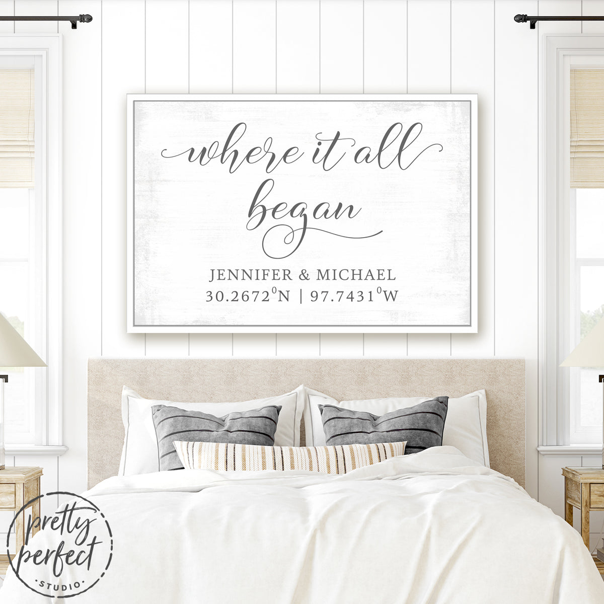 Where It All Began Sign With Name & Location Above Bed - Pretty Perfect Studio