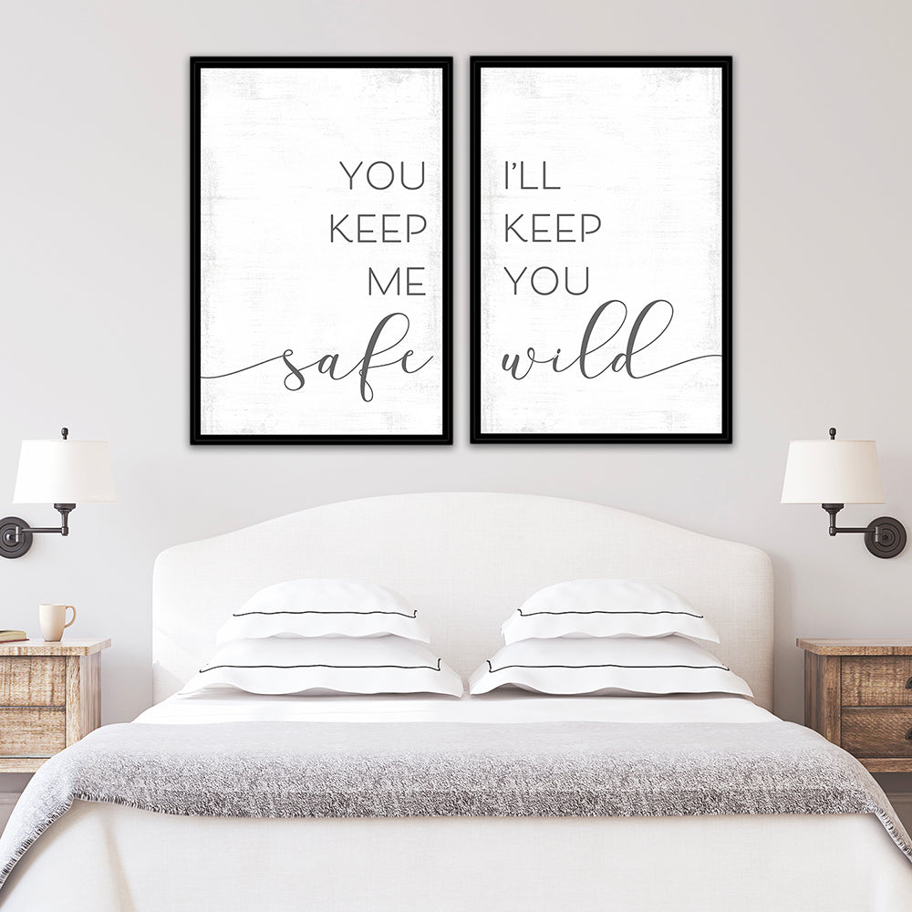 You Keep Me Safe I'll Keep You Wild Multi-Panel Print Set Above Bed - Pretty Perfect Studio