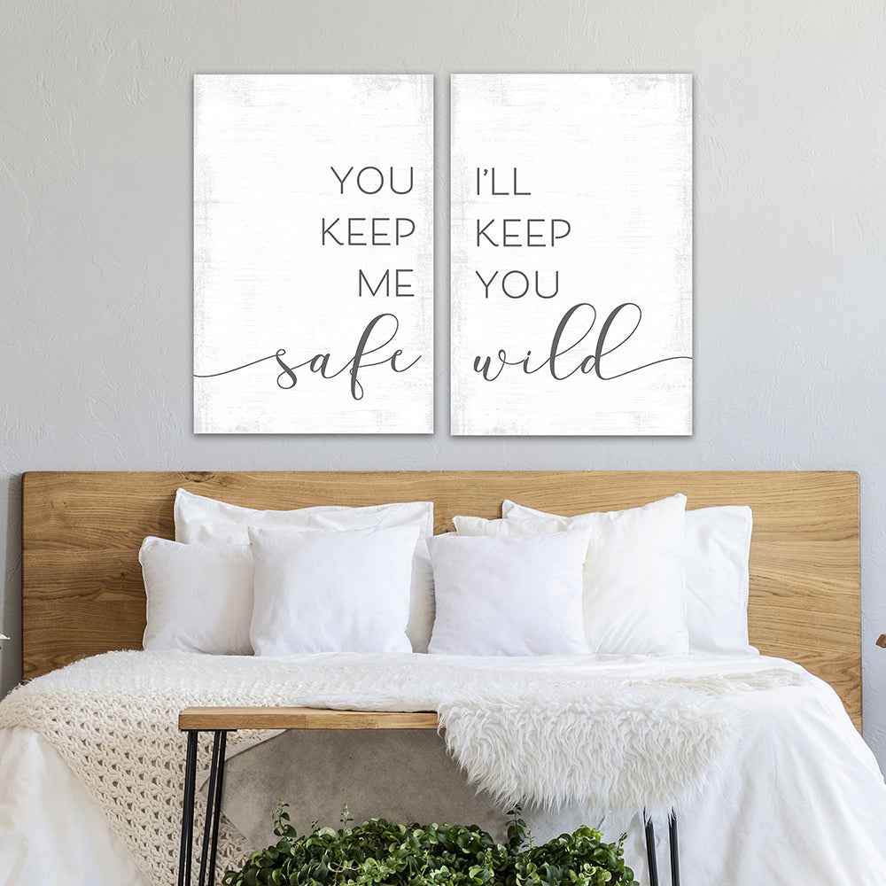 You Keep Me Safe I'll Keep You Wild Multi-Panel Print Set Above Bed in Master Bedroom - Pretty Perfect Studio