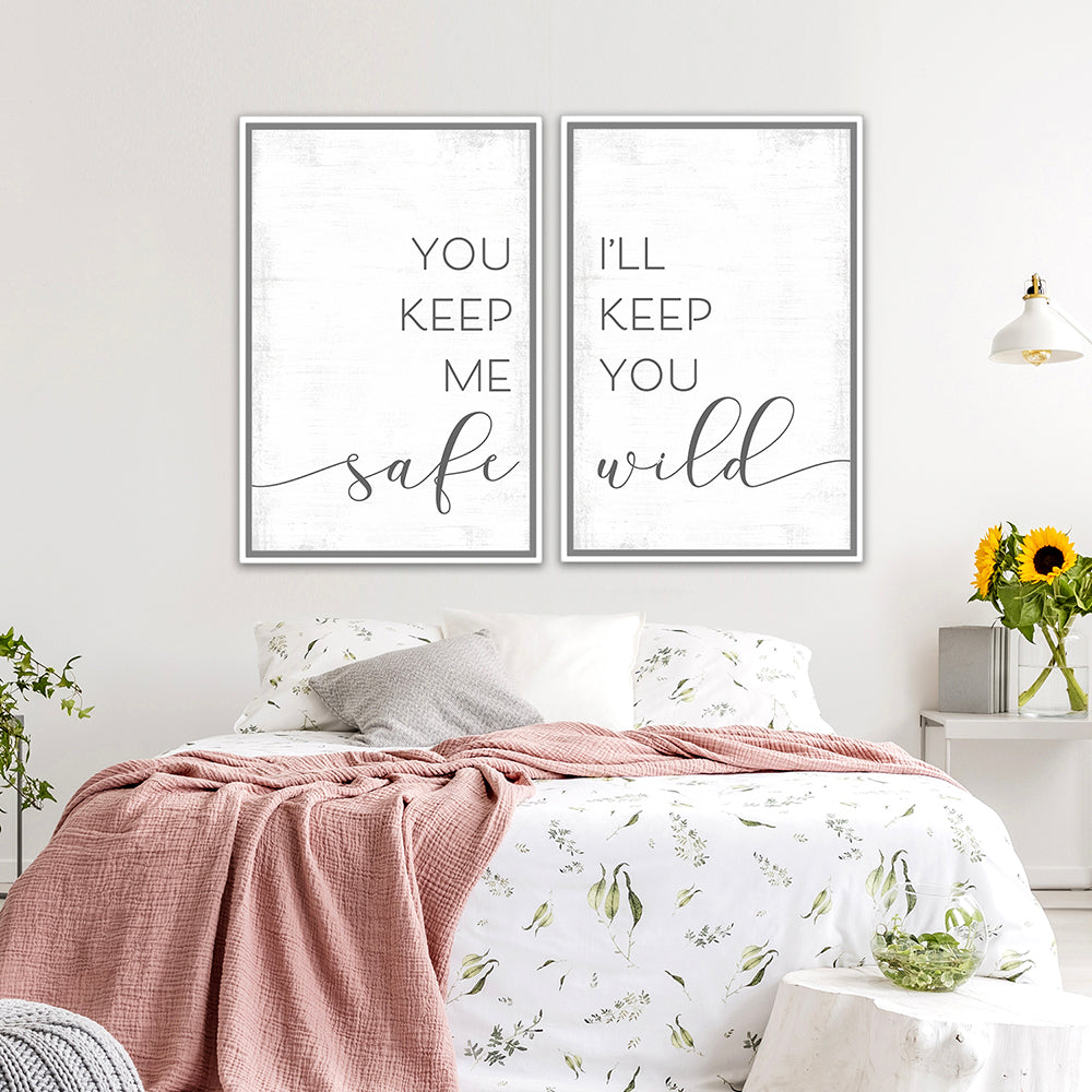 You Keep Me Safe I'll Keep You Wild Multi-Panel Print Set Above Bed in Couples Bedroom - Pretty Perfect Studio