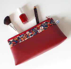 Trousse à maquillage en simili cuir rouge et Liberty Thorpe