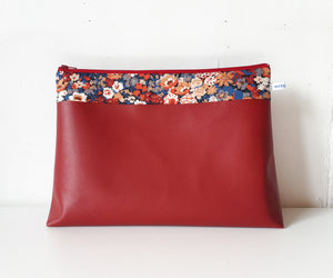 Maxi Trousse de toilette en simili cuir rouge et Liberty Thorpe