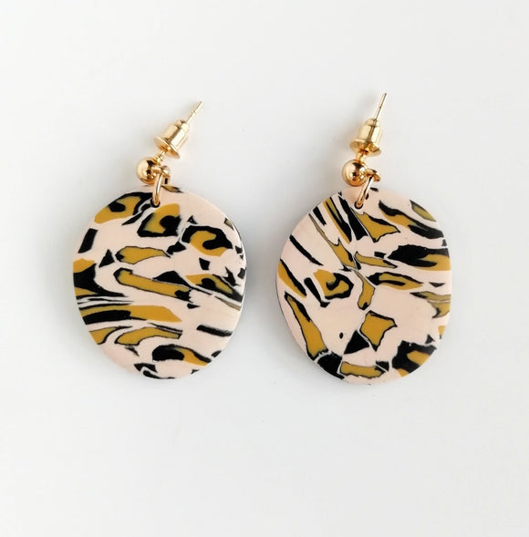 Leopard print - small abstract circle shape earring with kc gold ball stud