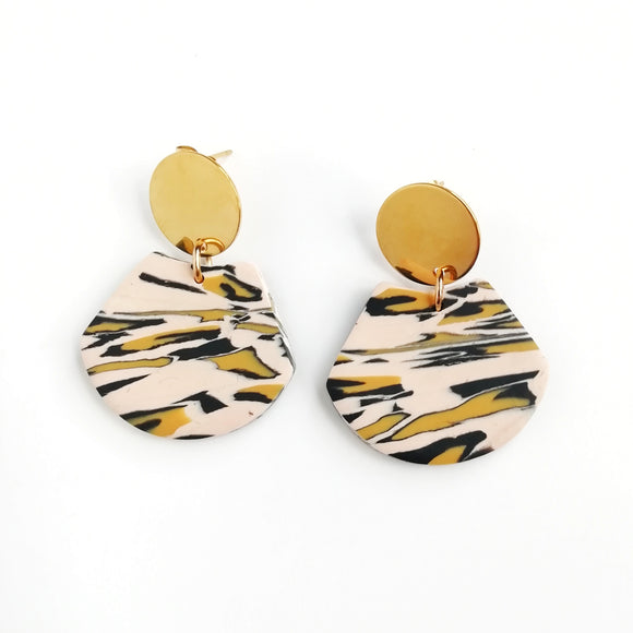 Leopard print - Small scorpion shape earring with round kc gold Stainless steel