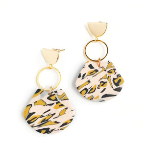 Leopard print - Small scorpion shape earring with half round kc gold Stainless steel