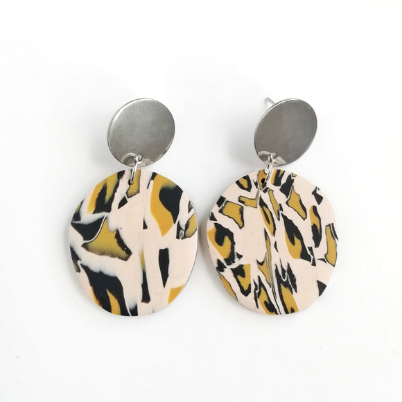 Leopard print - small abstract circle shape earring with round silver Stainless steel