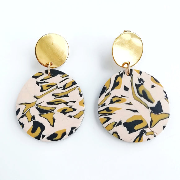 Leopard print - medium abstract circle shape earring with round kc gold Stainless steel