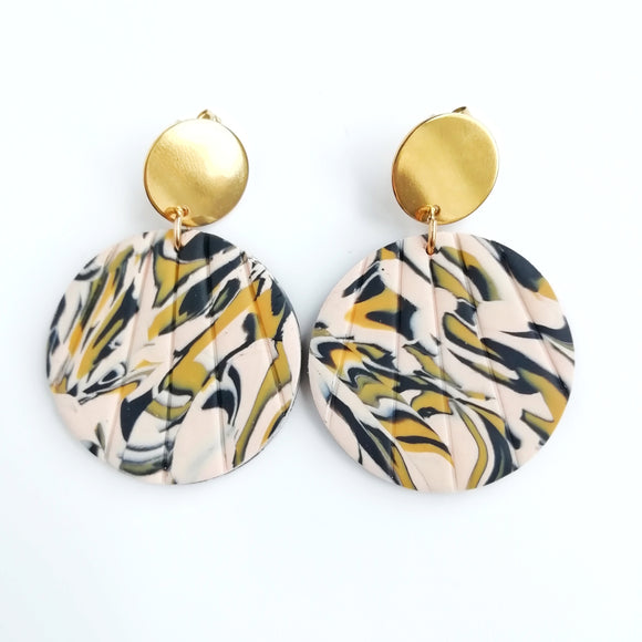 Leopard print - Large circle shape earring with round kc gold Stainless steel