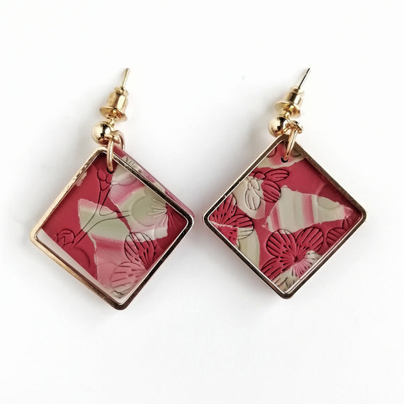 Altheda - Small square shape earring with kc gold stud with golden square - maroon