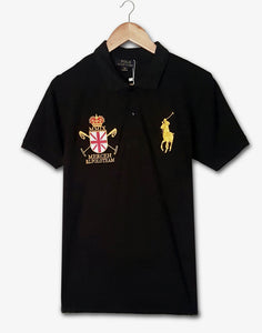 "POLO RALPH LAUREN EMBROIDERED SLIM FIT MMIX CROSS POLO ""BLACK"""