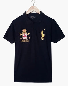 "POLO RALPH LAUREN EMBROIDERED SLIM FIT MMIX CROSS POLO ""NAVY"""