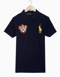 "POLO RALPH LAUREN EMBROIDERED SLIM FIT LION POLO SHIRT ""NAVY"""